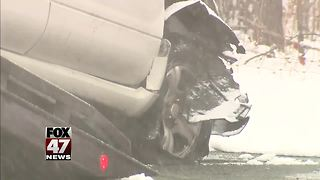Wintry weather leads to slick roads, freeway crashes - Video