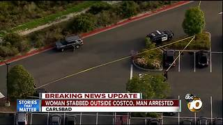 Woman stabbed outside Carlsbad Costco, man arrested - Video