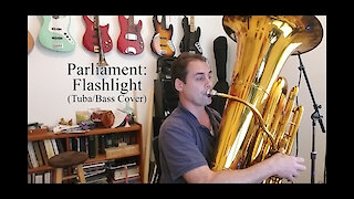 Tuba player plays along with Parliament's 'Flash Light'