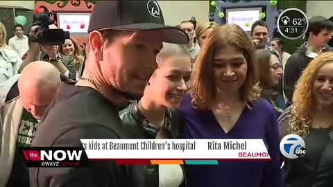 Actor Mark Wahlberg visits children at Beaumont Hospital