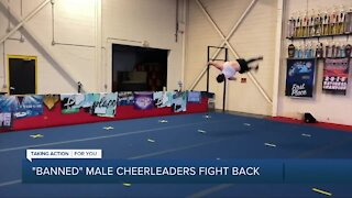 A male cheerleader speaks out cheering for change in Michigan