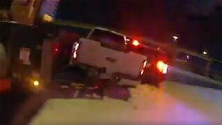 Police Cruiser hit twice on icy Texas highway