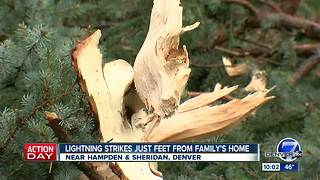 LIghtning strikes just feet from family's home