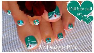 Green French tip toenail art design
