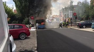Smoke and Flames Seen as Bus Goes on Fire in Madrid - Video