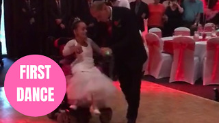 Heartwarming first dance between wheelchair-bound bride and her able-bodied husband - Video