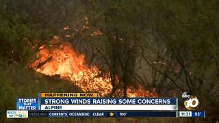 Strong winds raising fire concerns in East County