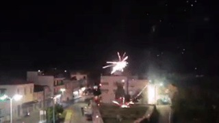 Fireworks Set Off Amid Disturbances at Refugee Camp on Greek Island of Chios - Video