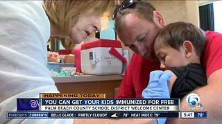 Palm Beach County providing free immunizations at school district office Thursday - Video