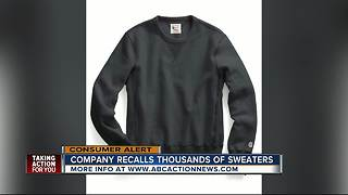 Sweatshirts recalled due to burn risks - Video