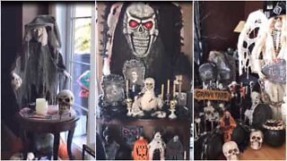 Family goes all out with Halloween decorations