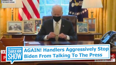 AGAIN! Handlers Aggressively Stop Biden From Talking To The Press