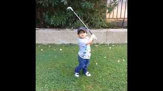 Two-Year-Old Plays Golf Like a Pro - Video