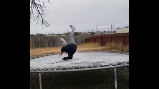 San Antonio Boy Attempts Icy Stunt by Jumping on Slick Trampoline - Video