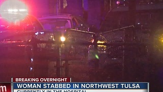 Woman in hospital after overnight stabbing - Video