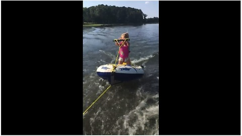 Two-Year-Old Girl Rocks On Her Water Skis