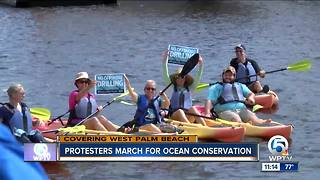 Protesters march for ocean conservation in West Palm Beach - Video