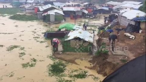 Monsoon rains devastate Rohingya refugees camps in Bangladesh