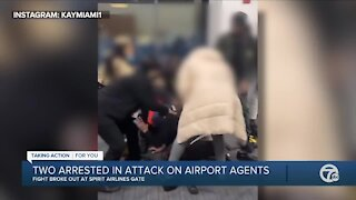 2 arrested in attack on airport agents at DTW