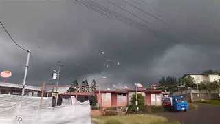 Possible Tornado Lifts Debris in Cartago, Costa Rica
