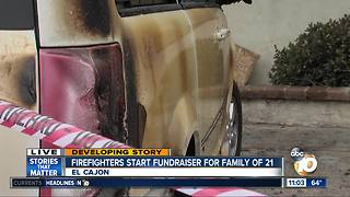 Firefighters start fundraiser for family of 21 - Video