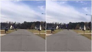 Kid performs incredible leap across street in the USA
