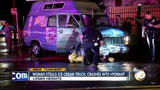 Woman steals ice cream truck; crashes into hydrant - Video