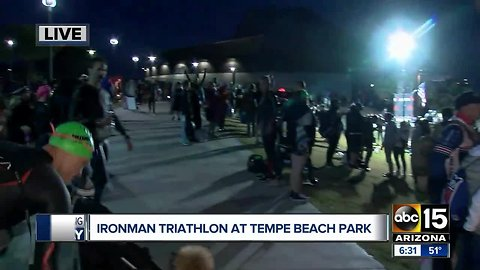 Ironman Arizona taking place at Tempe Beach Park