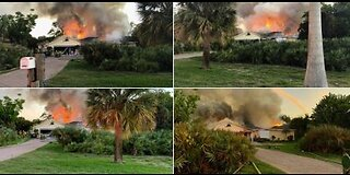 Crews battling large house fire in Stuart