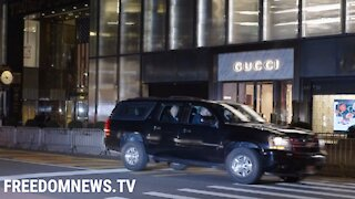 President Donald Trump Returns to Trump Tower NYC with Secret Service Motorcade