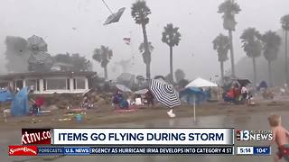 Umbrellas go flying during storm on California beach - Video