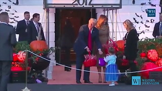 Melania Hands Out Candy During White House Halloween Party, Comes Face-to-Face with Her Own Mini Me - Video