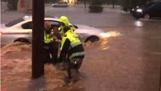 People Rescued From Car Stuck in Santa Fe Floodwaters