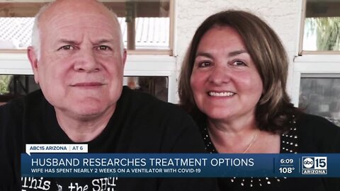 Husband researches treatment options for wife