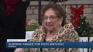 Surprise parade for Roseville woman's 100th birthday