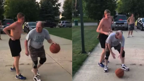 Grandpa Demoralizes Kid With Crazy All-American Trick Shot