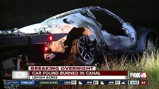 Deputies investigate burned car in Lehigh Acres canal - Video