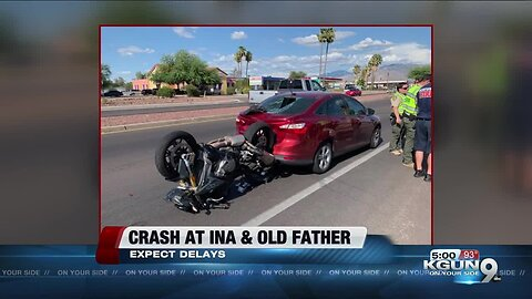 Crash involving motorcycle slows traffic near Ina and Oldfather