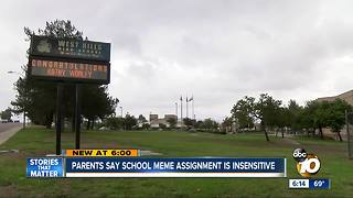 Parents say school meme assignement is insensitive - Video