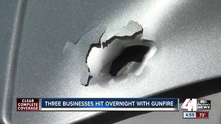 Three businesses hit overnight with gunfire - Video