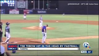 Tim Tebow hit in head by pitch, stays in game - Video