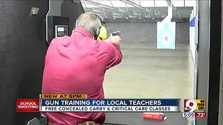 Gun training for local teachers - Video
