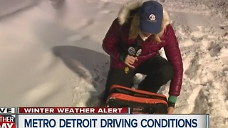 Metro Detroit driving conditions after snowstorm - Video