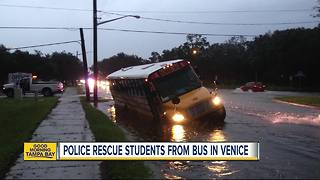 3 special needs students, 2 adults rescued from flooded school bus in Venice - Video