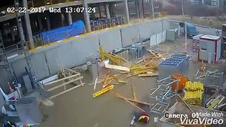 Construction Site Workers Escape Injury In The Nick Of Time - Video