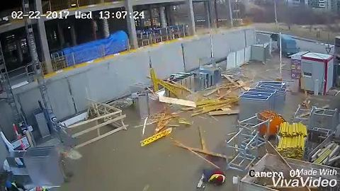 Construction Site Workers Escape Injury In The Nick Of Time