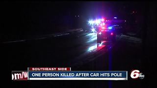 One person killed after vehicle hits utility pole on Indianapolis' southeast side - Video