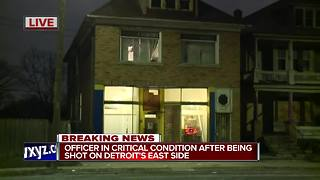 Detroit officer in critical condition after being shot on Detroit's east side