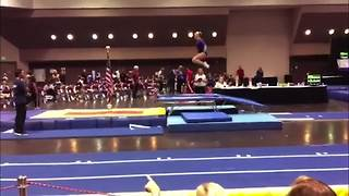 """A Young Gymnast Girl Does A Trampoline Trick But Fails"""