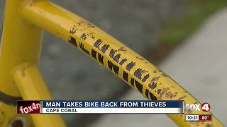 Man Tackles Would Be Bike Thieves - Video